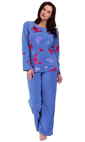 Para Mujer Caliente Invierno Polar Pijama Establece (44-46, Ciruela Oscura Búho)