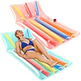 Parentswell Inflatable Pool Lounge Float, 2 Pack Swimming Pool Adult Size Lounge Chairs, 66in Colorful Pool Floating Mat, Beach Lounger Raft Floatie Toys for Adults with Cup Holder and Phone Organizer