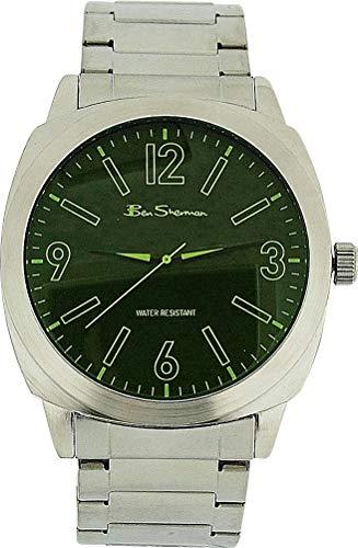 BEN SHERMAN Analoge Herren Armbanduhr mit grünem Ziffernblatt und silberfarbenem Metallarmband R904