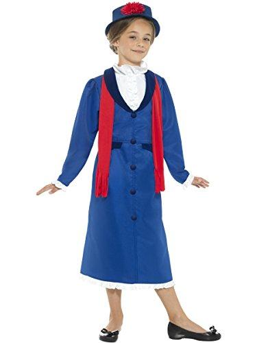 Smiffys Costume Bambinaia vittoriana, azzurro, blu, con vestito, cappello e sciarpa