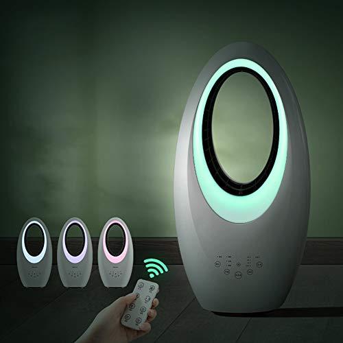 SXFYMWY Ventilador sin aspas con Control Remoto Ventilador de Torre para el hogar Piso Escritorio Mesa Sincronización silenciosa con luz Nocturna Ventilador de circulación de Aire