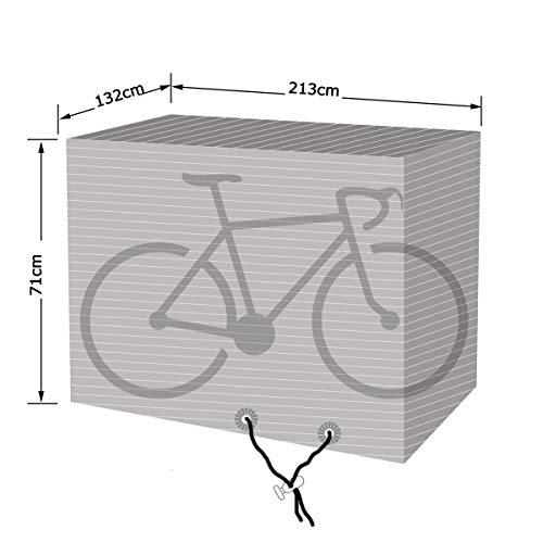 vtarp Bike Cover voor 1-2-3 fietsen, 120 GSM MULTILAYERED RIBBED waterdichte fietshoes anti-stof regen UV-bescherming voor mountainbike/racefiets opbergtas