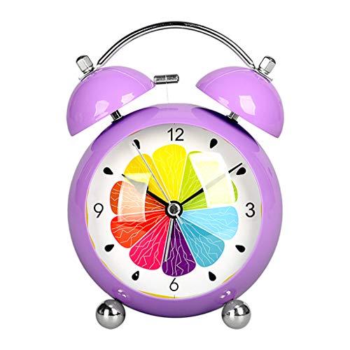 TQJ Despertadores Digitales Preciosa silencioso de dibujos animados Despertador Estudiante del niño reloj de cabecera Reloj Alarma multifunción escritorio del reloj del reloj de tabla púrpura Desperta