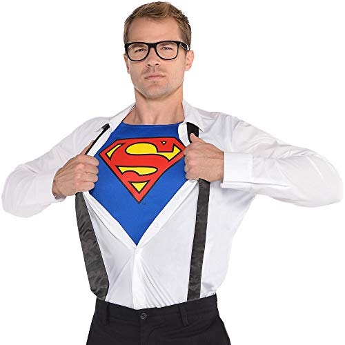 """Suit Yourself Superman Clark Kent Costume Accessory Kit for Adults, Standard Chest 42"""", Includes Shirt, Glasses and Tie"""