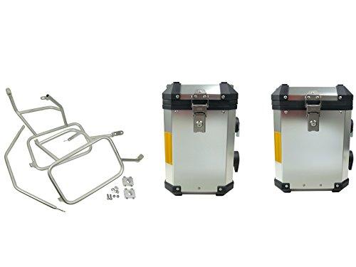 Koffer set aluminium onderdelen voor/compatibel met BMW R1200 GS LC, Adventure vanaf bj.2013 roestvrijstalen drager 45+38 liter