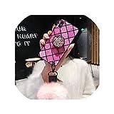 ダイヤモンドエアバッグブラケット携帯電話ケースのためにiPhone 7 8プラスケースのためにiPhone X XR XS Max 6 6Sプラスヘアボールストラップ電話ケース,For iPhone X,Square pink