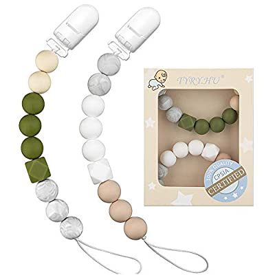 Pacifier Clip TYRY.HU Teething Silicone Beads Soothie Binky Holder Teether Clips for Boys Girls, Baby Registry Shower Gifts, 2 Pack (Green, Beige)