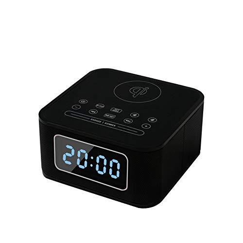 R-SOUNDBAR Bluetooth 4.2-Lautsprecher, Alarm Aux TF-Karte Und Tragbares Mini-Digital-Dimmer-Radiowecker Für Schlafzimmer, Heim Und Küche, Außen, Schule,Black