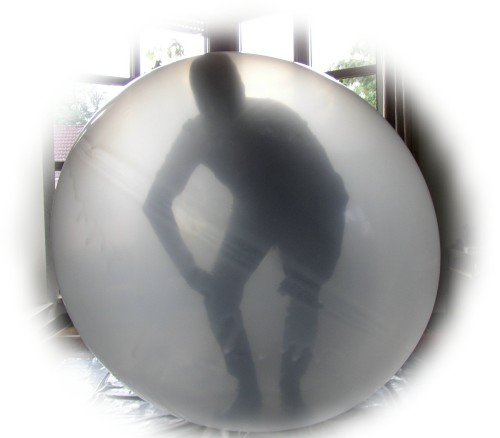 1 Stück, RC500-118-15 großer Climb-In Künstlerballon Riesenballon Größe 1,6m transparent unbedruckt Einstiegsöffnung/Halsdurchmesser 15cm von Riesenluftballon - Ø160cm /63inch, Umfang 450cm, Ballonfarbe Transparent, Jumboballoon Typ RC500 - Hergestellt in der EU
