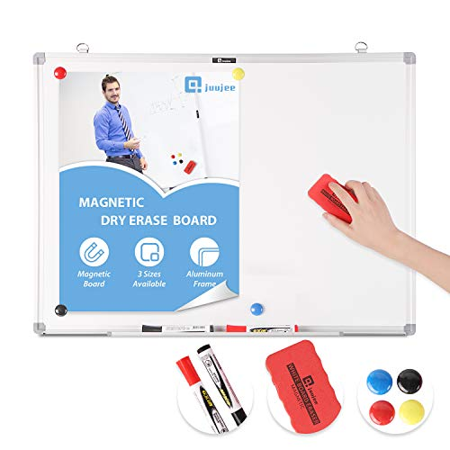 JuuJee 18x24 inch Dry Erase Magnetic WhiteBoard with Movable Pen Tray Lightweight White Board Slimline Aluminum Frame for Office Home School, Include Dry Erase Markers2, Magnets4, Eraser1