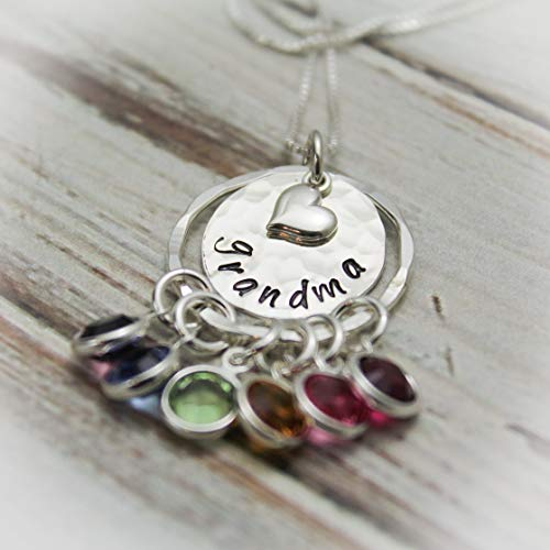 Hand Stamped Grandma Birthstone Necklace with Heart Charm
