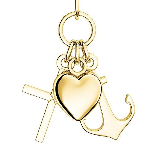 Herz Kreuz Anker Kette Gold 333 + inkl. GRATIS Luxusetui + Glaube Liebe Hoffnung Kette mit Herzchen Ankerkette Kreuzkette drei Anhänger Goldkette Gelbgold 333er Halskette FF390 GG33345