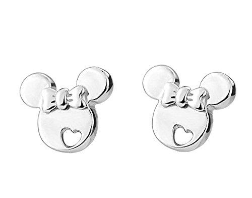 findout hueco de plata de ley pendientes de Mickey Mouse (f1480), tamaño; 8 mm x 6 mm