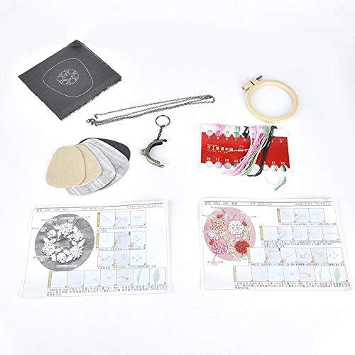 HEEPDD Handtas Maken Materiaal Kit DIY Borduren Tas Handgemaakte Craft Gift met 2 Katoenen Doek 4 Doek Tas Sleutelhanger portemonnee Frame Geborduurde Cirkel