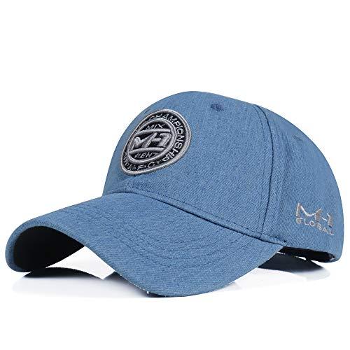 Ningz0l Zonnehoed, golfvizier, jeans-zonwering-casual letters borduurwerk katoen gewassen wilde honkbalmuts lichtblauw