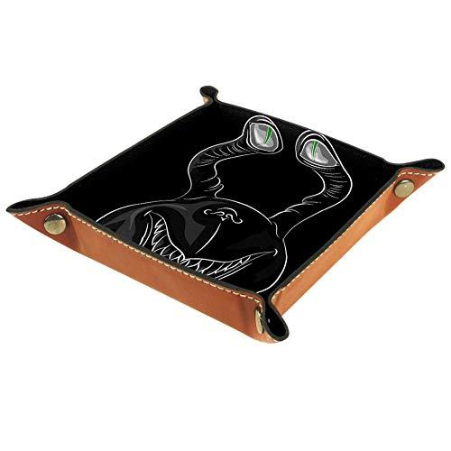 TIKISMILE - Bandeja de almacenamiento con diseño de fantasma alegre con ojos abultados para la mesa de vestir, escritorio, caja de almacenamiento para llaves, monedas, joyas, teléfono, papelería para el hogar