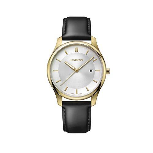 Wenger Hombre City Classic - Reloj de Acero Inoxidable/Cuero de Cuarzo analógico de fabricación Suiza 01.1441.106