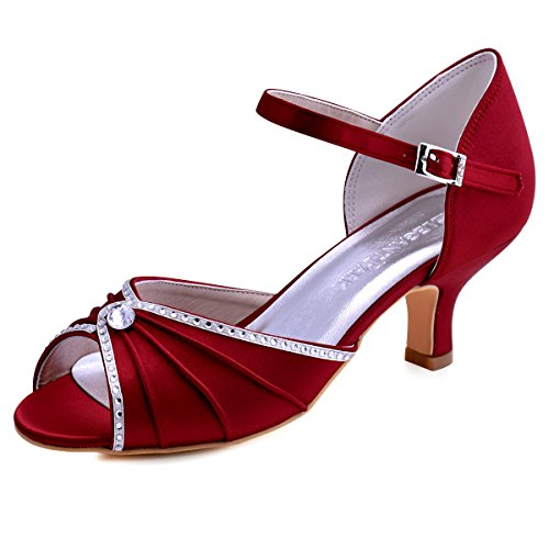 Elegantpark HP1623 Sandalias de Boda Tacon Bajo Peep Toes Zapatos Boda Fiesta Mujer Abrochan Los Satén Zapatos para Novia Rojo Oscuro EU 40