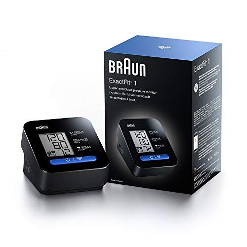 Braun BUA5000EUV1AM ExactFit 1 - Tensiómetro de brazo (clínicamente preciso, funcionamiento con un botón, fácil de usar, pantalla grande, uso doméstico, manguito universal)