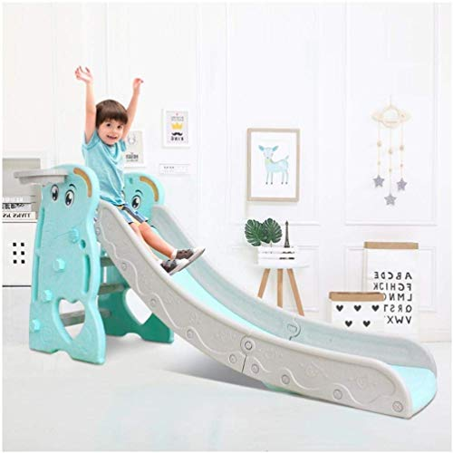 Freestanding Kid Slide, Indoor/Outdoor Kids Toy Slide with a Safety Triangle Design, Children's Slide Basketball Frame, Climbing, Stairs, Fun Toy Playground Equipment Game Center