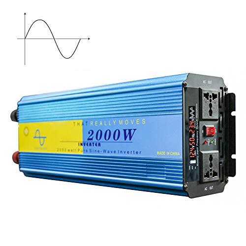 SSCYHT Reiner Sinus-Wechselrichter, 2000 W (Peak 4000 W) Stromrichter, DC 12V / 24V Zu AC 220V, Notstromversorgung Für Wohnmobile, Autos, Privathaushalte Und Sonnensysteme,DC 24V