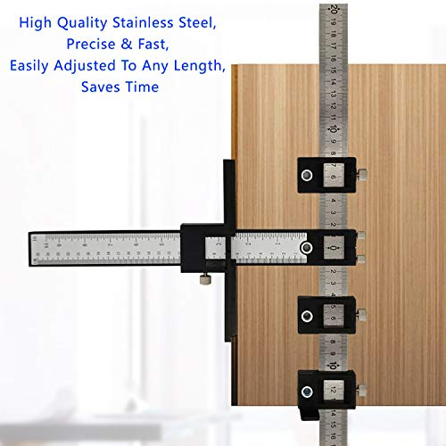 MESTUDIO Cabinet Hardware Jig, Adjustable Punch Locator Template Tool Drill Guide, Wood Jigs Drilling Dowelling Guide For Installation Of Handles, Knobs On Doors And Drawer Pull With Center Punch