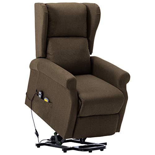vidaXL Massage Aufstehsessel mit Heizung Aufstehhilfe Massagesessel Liegesessel Fernsehsessel Relaxsessel TV Sessel Ruhesessel Braun Stoff