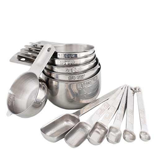 12 Piece Stainless Steel Measuring Cups and Spoons Combo Set - Stackable Heavy Duty Quality - Perfect for Dry and Liquid Ingredients by Foodie Aid