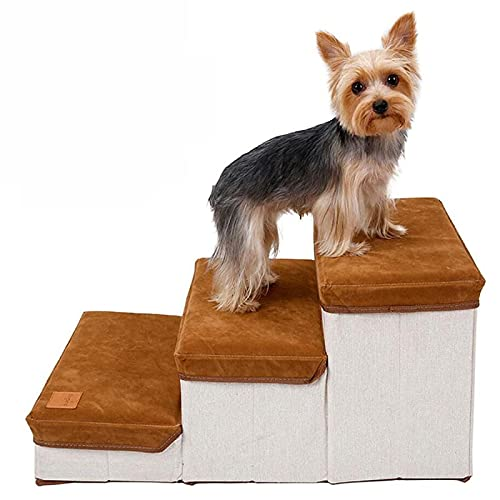 Haustiertreppe,Katzentreppe Faltbar,3-Stufen-Aufbewahrungsstil Hundetreppe Pet Stair,Hunderampe Tragbar Tiertreppe für Hunde und Katzen, Kleine und Große Hunde,Bett und Couch,Laden Sie 25 kg Braun
