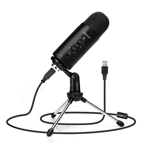 USB Recording Microphone for Computer Podcast: Zero Latency Monitoring Professional PC Mic Studio Cardioid Kit with Tripod Stand, Great for Gaming, Podcasting, Streaming, YouTube, Voice Over, Skype