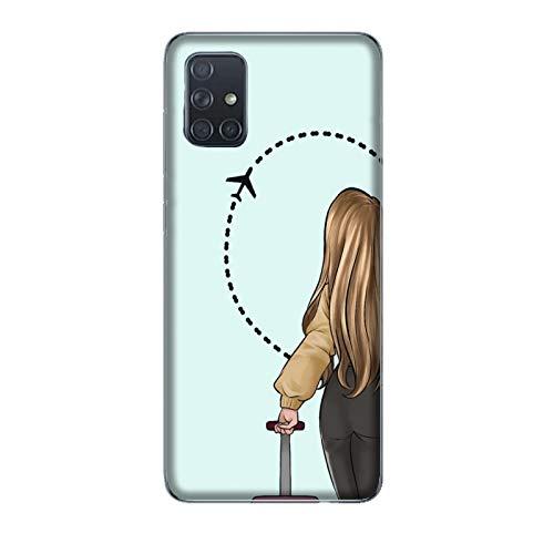 Funda Galaxy A71 Carcasa Compatible para Samsung Galaxy A71 Pareja Enamorados Novio Novia Amor Maleta de Viaje de Medio corazón/Imprimir también en los Lados/Teléfono Duro A presión Antidesliz
