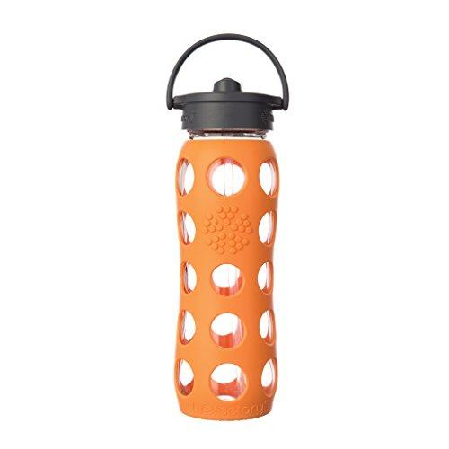 Lifefactory 15011 Glas -Trinkflasche 650ml, Straw Cap, orange
