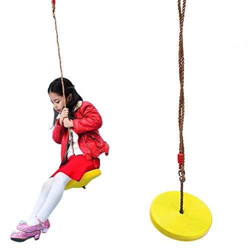 Schommelschommel met touw verstelbare schommelzitting, buiten hangende schommel klimtouw met platform schommel, schotelschommel van stevige, weerbestendige kunststof, belastbaar tot 120 kg