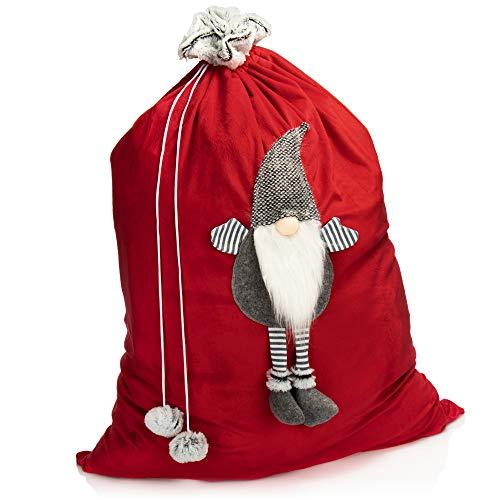 com-four Sacco Natalizio Premium XL - Sacco Regalo Rosso da riempire - Sacchetti Natalizi con Pompon e gnomi Come Decorazione, Ottima Confezione Regalo (1 Pezzo Grande - Gnomo Grigio)