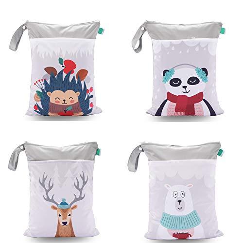 N&A 4 Pcs Borsa per Pannolini Generic Borsa Shopper Zipper per il Cambio dei Pannolini lavabile e Riutilizzabile Bambino Bag per Viaggi Gym Wet Bag