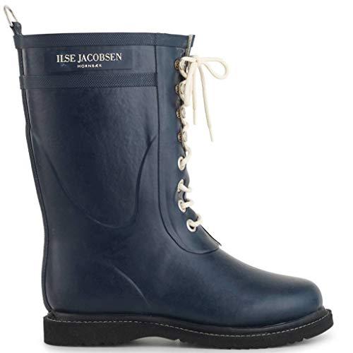 Ilse Jacobsen Damen Gummistiefel | Schuhe aus 100% Natur Bio Gummi | garantiert PVC frei | 3/4 Lange Stiefel mit Schnürsenkel aus 100% Baumwolle | RUB15 Blau 41 EU