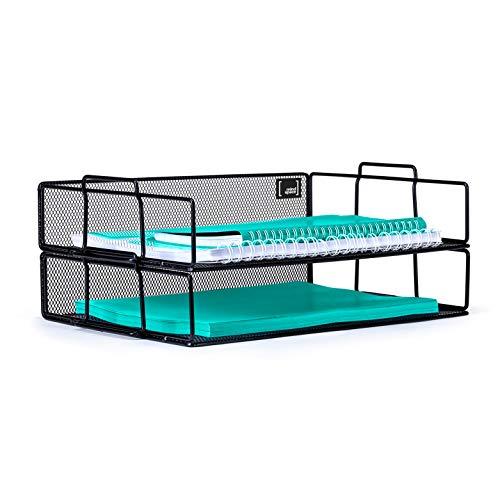 Mindspace 2 Tier Stackable Letter Tray Desk Organizer   Stackable Paper Tray Organizer   The Mesh Collection, Black