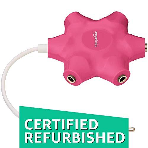 (CERTIFIED REFURBISHED) AmazonBasics 5-Way Multi Headphone Splitter, Pink(Color May Vary)