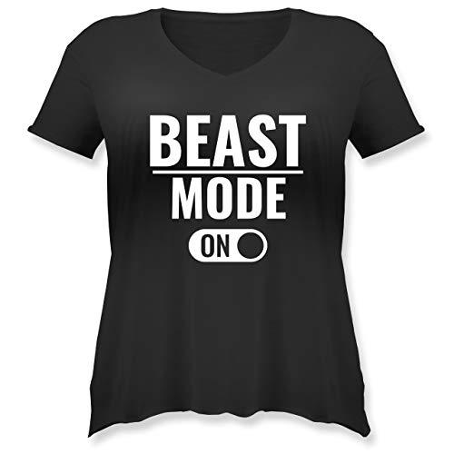 Fitness & Workout - Beast Mode ON - L - Schwarz - Sport - JHK603 - Weit geschnittenes Damen Shirt in großen Größen mit V-Ausschnitt