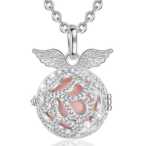AEONSLOVE Chime Ball graviditet halsband hänge ängel vinge musik önskan bola medaljong för mamma baby bästa smycken gåva e silverpläterad, colore: Persika, cod. AE07K380N18HA27-45-N28