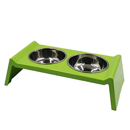 THAIN 猫 食器 ペット食器スタンド 餌皿 猫 ペット食器台 猫食器スタンド ペット用食器 ペットボウルスタンドセット 犬食器ステンレス ペットボウル お皿 犬 猫 ペット用 (グリーン)
