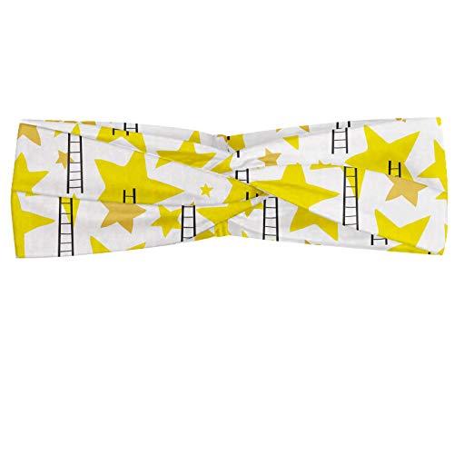 ABAKUHAUS Ster Hoofdband, Ladders en Sterren Geometrische, Elastische en Zachte Bandana voor Dames, voor Sport en Dagelijks Gebruik, Geel Zwart-wit