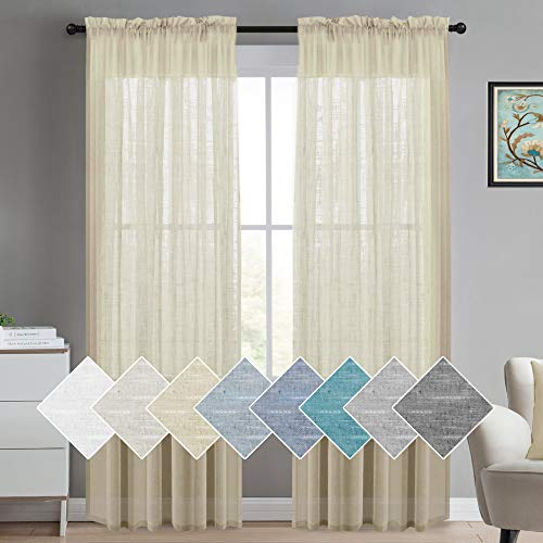 Elegant Natural Linen Curtain Panels 96 Inches Long Beige Linen Sheer Curtains for Living Room Rod Pocket Energy Efficient Semi - Sheers Window Treatments Panels/Drapes, 2 Panels, Beige