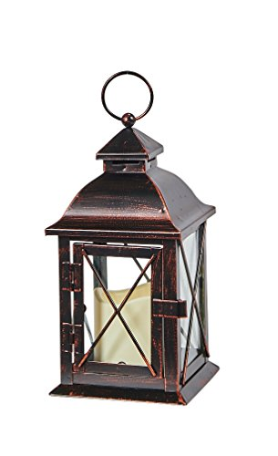 Smart Living 84035-LC Smart Design STI84035LC Aversa Metal Lantern with LED Candle with Set, 10'...