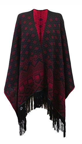 Islander Fashions Damen Aztec Fringe Reversible gestrickte Baggy Schal Wasserfall Cardigan Wein freie Gr��e