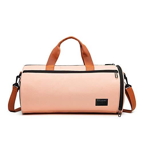 C100AE Bolsa Deporte y Viaje para Mujer y Hombre, Bolsa de Viaje Bolsa de Gimnasio con Compartimento para Zapatos y Ropa Mojada, Multiuso como Plegable Bolsa de Hombro Weekend (Rosa Claro)