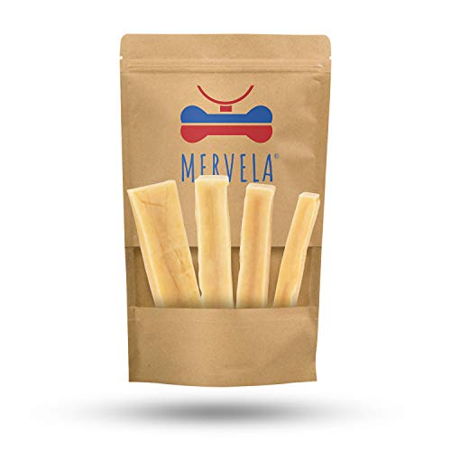 MERVELA Käse Kauknochen für kleine Hunde [41 g pro Stange] - Handgemachter Hundeknochen - Leckerer Käsegeschmack - 100% Natürlich & Zuckerfrei - Optimale Zahnpflege für deinen Vierbeiner (3 Stück)