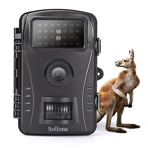 Sollona Cámara de Caza 12MP 1080P Impermeable 26 LED de IR Invisible Visión Nocturna hasta 15m para Fauna Seguridad Hogar Mascota Animal 0.5s de Activación Sensor de Movimiento Cámara de Vigilancia