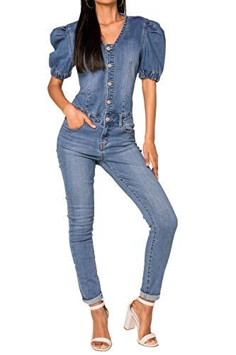 EGOMAXX Damen Denim Jeans Jumpsuit Overall Puffy Hosenanzug Biker Playsuit Combi Kurzarm Blaumann, Farben:Blau, Größe:40