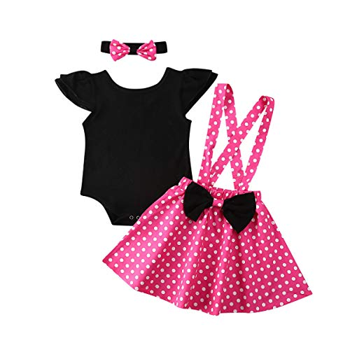 Baby Meisje Ruche Romper Tops Polka Dot Jurk Suspender Tutu Rok Boog Knoop Hoofdband 3 Stks Peuter 1e Verjaardag Outfit